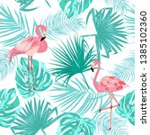 seamless pattern of flamingo ... | Shutterstock .eps vector #1385102360