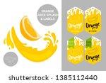 cartoon orange cut with juice...   Shutterstock .eps vector #1385112440