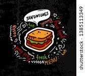 tasty sandwich  fast food...   Shutterstock .eps vector #1385113349