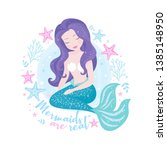 beautiful mermaid with purple... | Shutterstock .eps vector #1385148950