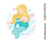 beautiful mermaid for t shirts... | Shutterstock .eps vector #1385149070