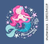 beautiful mermaid with pearls... | Shutterstock .eps vector #1385154119