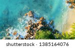 tropical beach with sea and... | Shutterstock . vector #1385164076
