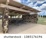 stone and wooden picnic... | Shutterstock . vector #1385176196