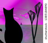 Black Cat  Lilies And Seascape...