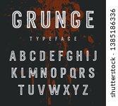 grunge font. vector sans serif... | Shutterstock .eps vector #1385186336