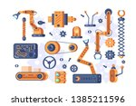 mechanism parts set vector... | Shutterstock .eps vector #1385211596