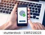 Small photo of Secure access granted by valid fingerprint scan, cyber security on internet with biometrics authentication technology on mobile phone screen, person holding smartphone connected with wifi