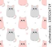 seamless cute pink cat pattern. ... | Shutterstock .eps vector #1385226719