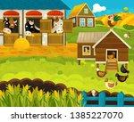 cartoon happy and funny farm...   Shutterstock . vector #1385227070