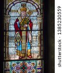 Small photo of Ramnicu Valcea/Romania - May 28 2015: Stained glass at the Archdiocese of Ramnic. This is a Romanian Orthodox archdiocese based in Ramnicu Valcea
