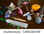 variety of healing crystals on... | Shutterstock . vector #1385230769