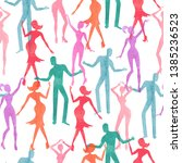 seamless dance pattern. vector... | Shutterstock .eps vector #1385236523