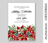 poinsettia christmas party... | Shutterstock .eps vector #1385258063