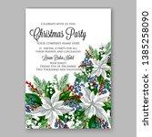 poinsettia christmas party... | Shutterstock .eps vector #1385258090