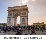 paris france 7 4 2018  tourists ...   Shutterstock . vector #1385289803