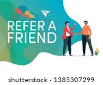 recruitment. refer a friend... | Shutterstock .eps vector #1385307299