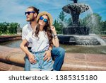 happy young people in love in... | Shutterstock . vector #1385315180