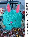 blue bunny cake for easter...   Shutterstock . vector #1385318279