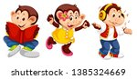 set of monkey character... | Shutterstock .eps vector #1385324669