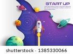 paper art style of rocket...   Shutterstock .eps vector #1385330066