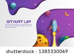 paper art style of rocket...   Shutterstock .eps vector #1385330069