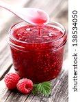 Raspberry jam - stock photo