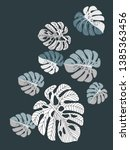 vector tropical pattern with... | Shutterstock .eps vector #1385363456