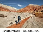 tourist with backpack and... | Shutterstock . vector #1385368223