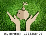 paper cut of eco concept on... | Shutterstock . vector #1385368406