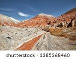 landscape of bizarre layered... | Shutterstock . vector #1385368460