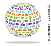 globe filled with social... | Shutterstock . vector #138540500