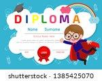 certificates kindergarten and... | Shutterstock .eps vector #1385425070