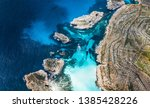 top view of tropical bay with... | Shutterstock . vector #1385428226