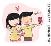 happy family young parent... | Shutterstock .eps vector #1385428766
