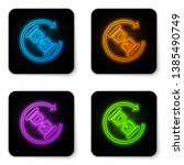 glowing neon waiting icon... | Shutterstock .eps vector #1385490749