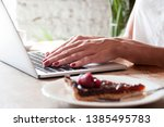 freelance woman working with... | Shutterstock . vector #1385495783