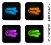 glowing neon magnet with money... | Shutterstock .eps vector #1385503340