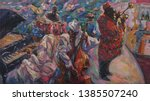 jazz band  oil painting  artist ... | Shutterstock . vector #1385507240