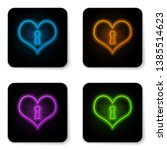glowing neon heart with keyhole ... | Shutterstock .eps vector #1385514623