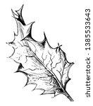spiny leaf of ilex aquifolium... | Shutterstock .eps vector #1385533643