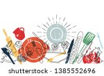 background with utensils and... | Shutterstock .eps vector #1385552696