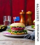 burger with australian flag on... | Shutterstock . vector #1385557799