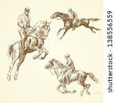 hand drawn horses | Shutterstock .eps vector #138556559