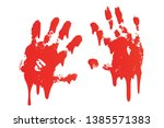 bloody hand print set isolated... | Shutterstock .eps vector #1385571383