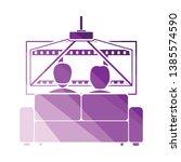 cinema sofa icon. flat color...