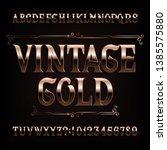vintage gold alphabet font.... | Shutterstock .eps vector #1385575880