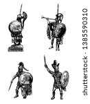 Greek hoplite illustration. Ancient warriors set. Historical illustration.