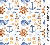 watercolor seamless pattern... | Shutterstock . vector #1385592353