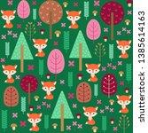 cute fox in a forest seamless... | Shutterstock .eps vector #1385614163